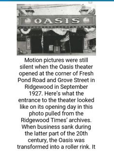 Old oasis movie theater, ridgewood,  NY