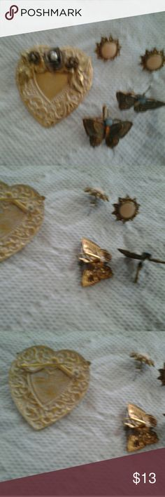 3-4-1 jewelry bundle One pin...heart shaped with pearl accent and vintage looking white wash.  Two pairs of earrings. Butterflies are from Coldwater creek for at least$25. The studs are a pretty peach with crystal around the painted center Jewelry