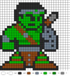 World War Hulk Perler Bead Pattern