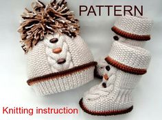 P A T T E R N Knitting Baby Set Baby Shoes Knitted Baby Hat Pattern Baby Booties Baby Boy Baby Girl Pattern ( PDF file )