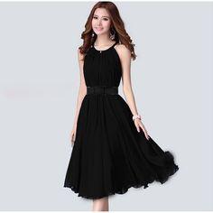 Sleeveless Casual Chiffon Dress
