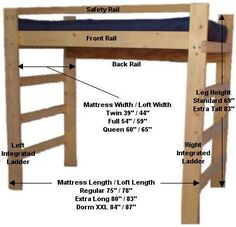 diy loft bed plans free | College Bed Lofts - Basic Loft Bed