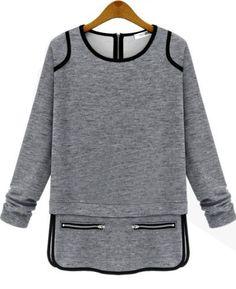 Camiseta cuello redondo cremallera-gris 14.69
