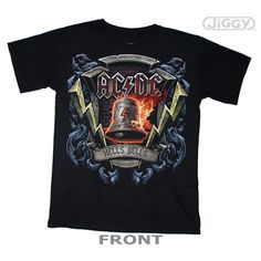 AC/DC t-shirt with Hells Bells ringing in rock n roll's newest members on the front.  Printed on a black 100% cotton t-shirt.