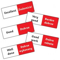 Sheet of 16 Mixed Polish Phrases 59mm x 20mm Stickers | At Primary Teaching