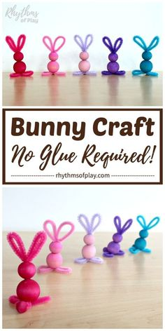 easy crafts Pipe cleaner crafts like this easy bunny craft made with chenille stems and wooden beads are simple for kids of all ages--no glue required! A cute pipe cleaner bunny craft that Bunny Crafts, Easter Crafts For Kids, Preschool Crafts, Diy For Kids, Easter Ideas, Crafts For Children, Crafts For Preschoolers, Easter Craft Activities, Unicorn Crafts