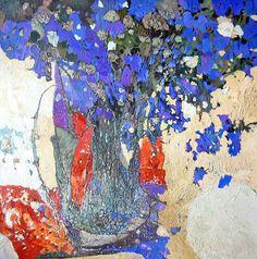 Полдень by Stanislaw Krupp Art Painting, Abstract Artists, Flower Art Painting, Flower Art, Floral Art, Painting, Abstract Flower Painting, Abstract, Red Wall Art
