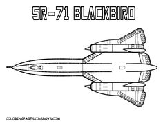 SR-71 Blackbird Military Airplane (Mach 3.2) - Top Ten Military Fighter Jets. You Can Print Out This Airplane #ColoringPage For #Boys... http://www.yescoloring.com/images/airplane_sr-91_aurora_01_coloring-pages-book-for-kids-boys.gif