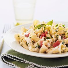 This light summer pasta recipe, flavored with ricotta, feta, and fresh herbs, is ready in just 30 minutes. #myplate #grains #dairy