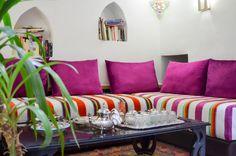 Salon du riad Adarissa. Moroccan, Couch, Culture, Furniture, Home Decor, Morocco, Settee, Decoration Home, Sofa