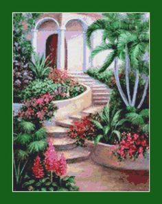 Garden Steps Counted Cross Stitch Pattern in PDF for Instant Download