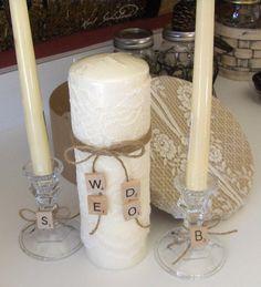 Lace Wedding Unity Candle Set Scrabble by bksvintageweddings, $39.50
