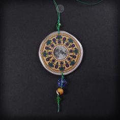 XL Necklace Honey Moon Mandala 100% handmade folk jewelry boho style, big etno necklace pendant mandala graphic, made in Poland, resin, moon