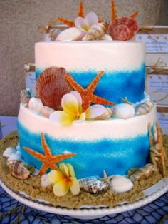 Create a splash with this Under The Sea Party Birthday Party Ocean Party! Including Fish bowl centerpieces, starfish cupcakes, tablescape, cake and Under the Sea Party Invitations! A great Under the Sea Birthday Party Ideas for kids and teens! Ocean Birthday Cakes, Ocean Cakes, Birthday Cakes For Teens, Beach Cakes, 10th Birthday Parties, Birthday Ideas, Luau Birthday, 13th Birthday, Cake Birthday