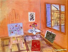 Studio with Bouquet Artwork by Raoul Dufy Hand-painted and Art Prints on canvas for sale,you can custom the size and frame