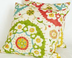 Colorful Suzani DecorativeThrow  Pillows, Accent Cushion Covers, Couch Pillows, Green Red Yellow Turquoise Medallions, Eclectic Decor 18x18. $35.00, via Etsy.