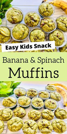 Apr 2020 - An easy to make spinach and banana muffin recipe that's toddler and kid-friendly. These green are muffins packed with spinach and taste delicious! An easy snack or breakfast idea for kids, toddlers, and the whole family. Baby Muffins, Toddler Muffins, Muffins For Toddlers, Baking Muffins, Easy Snacks For Kids, Healthy Toddler Meals, Healthy Snacks, Toddler Food, Healthy Kids