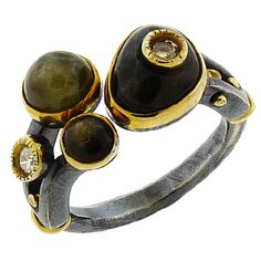 Ring | Michael Boyd. Oxidized sterling silver, 22k and 18k gold, sapphire, diamonds