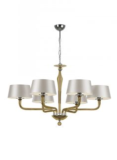 Czarina Gold 6 Arm | Beautiful glass crystal pendant ceiling light, available with clear, smoke or gold coloured glass. Czarina Gold 6 Arm with 10″ French Drum Ivory satin Champagne PVC lining.