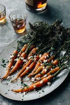Bourbon & Honey Roasted Carrots with Cayenne & Feta | Dishing Up the Dirt | Bloglovin'