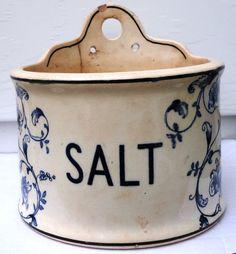 antique Salt Crock 1906 blue floral cream rustic by LaVogue, $25.00