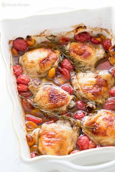 Quick and easy! Chicken thighs baked with cherry tomatoes, garlic, and rosemary. Great midweek meal. Easy on the budget too! Only 10 minutes of hands on time. Get the recipe at SimplyRecipes.com