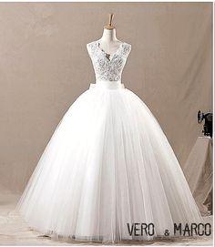 Vintage V-neckline dobble straps bow back long ball gown lace tulle satin lace plus size wedding dress ET101 on Etsy, $268.36 CAD