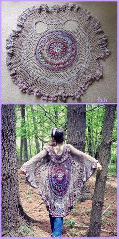 22 Ideas crochet shawl pattern circle projects for 2019 Crochet Feathers Free Pattern, Crochet Cape Pattern, Crochet Poncho Patterns, Crochet Scarves, Crochet Clothes, Gilet Crochet, Crochet Jacket, Crochet Shawl, Free Crochet
