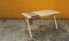 Wewood Bolsa Leather and Oak Desk / Workspace Solid Oak Table, Solid Wood Desk, Custom Furniture, Table Furniture, Furniture Design, Dining Table Chairs, Table Desk, Desk Chairs, Antik Sofa