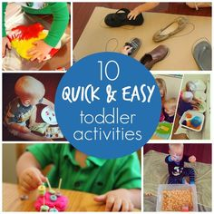 What great ideas to keep the little one busy! Toddler Approved!: 10 Quick & Easy Toddler Activities