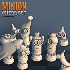 3D printed Minions chess set