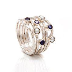 Gemstone Silver Woven Ring