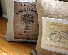 The North End Loft: French Label Pillows  Would like to try this.  Looks like a fund project