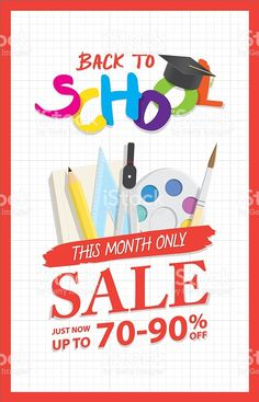 Back To School Sale heading design promotion for banner poster. royalty-free stock vector art