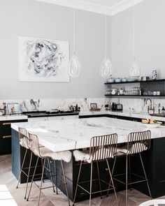 modern kitchen with marble countertop island