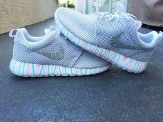 Womens Custom Nike Roshe Run sneakers, South Beach teal, Pink petals, Customized sneakers, Fashionable design, trendy and cute, platinum