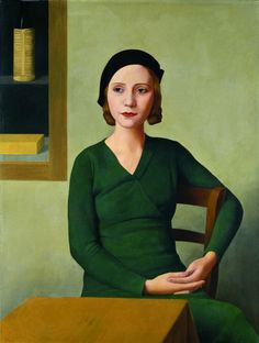 Woman at the Café - Antonio Donghi , 1932 Italian, 1897 -1963 oil on canvas 80 x 60 cm.
