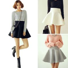 Fashion-Womens-Stretch-High-Waist-Short-Plain-Skater-Flared-Pleated-Mini-Skirt