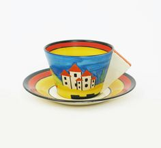 Applique Blue Lucerne' a Clarice Cliff Conical tea cup and saucer
