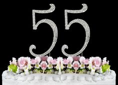 Rhinestone Cake Topper Number 55 >>> Additional details at the pin image, click it : baking decorations