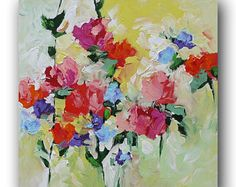 Original Floral Painting Abstract Art Impressionist Landscape Roses Red Pink Violet Blue Flowers Acrylic Painting on Canvas by Linda Monfort