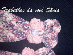 Trabalhos da vovó Sônia: Aplique lacinho picô rosa lilás mesclado - crochê