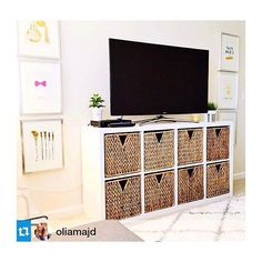 absolutely love our make shift tv stand - we have brought the KALLAX storage…