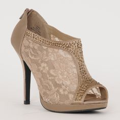 High Heel Lace with Open Toe & Jewels