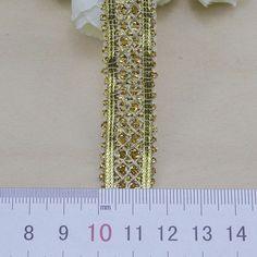 9 Metres Indian Antique Gold Triple Woven Trim Ribbon Border Lace Ethnic X15