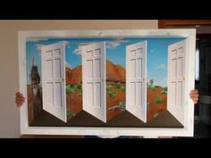 This painting is called Aussie Illusion and it's inspired to the artist Patrick Hughes. The illusion is made possible by painting the view in reverse to the . Perspective Art, Illusions, Projects To Try, Artist, Youtube, Painting, Inspiration, 3d, Random