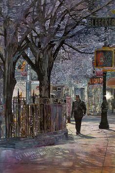 John Salminen - Bleecker Street, watercolor on paper, 35.5 x 24 inches