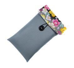 housse iphone 6 femme grise imitation cuir et tissu japonais