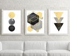 Set of 3 Geometric Printables Yellow Black and Silver Bathroom Wall Art, Diy Wall Art, Wall Art Sets, Modern Wall Art, Wall Art Prints, Bedroom Wall, Minimalist Artwork, Minimalist Poster, Art Scandinave