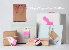 diy tags neon packaging  regalos etiquetas kraft   miraquechulo